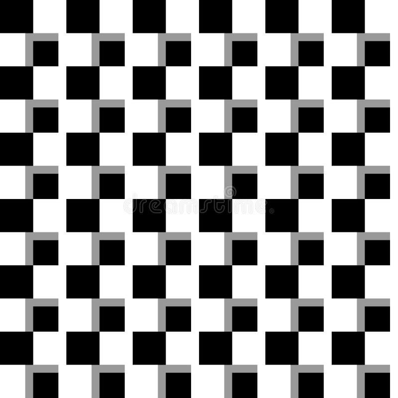 Fond monochrome illusoire avec la mosaïque des places Seamlessl illustration stock