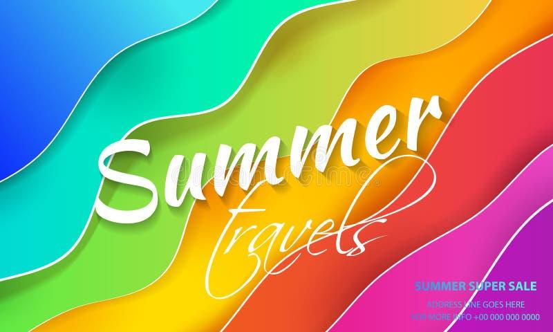 Fond multicolore abstrait, imitation de la mer Un fond avec les vagues de papier Un calibre pour une bannière, illustration stock