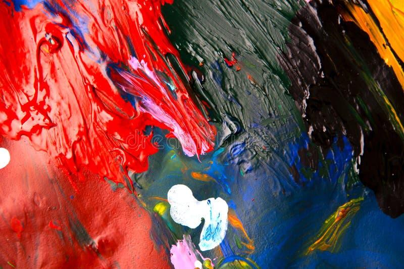 Fond multicolore d'abrégé sur plan rapproché de peintures à l'huile d'en haut image libre de droits