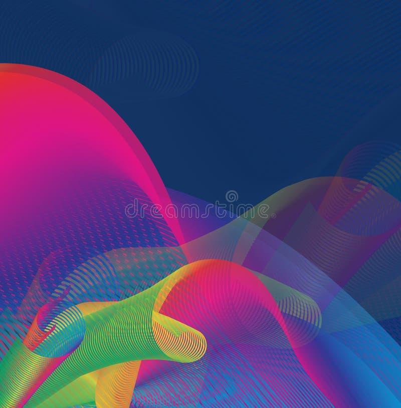 Fond multicolore, graphique, abstrait créé de recouvrir les lignes incurvées illustration libre de droits