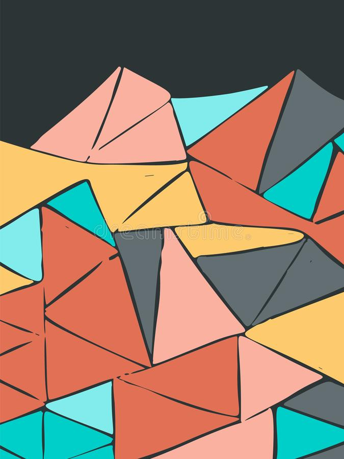 Fond multicolore peint simple de triangles pour la conception illustration libre de droits