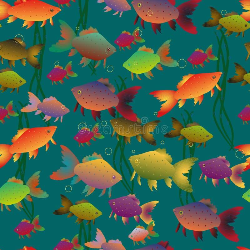 Fond multicolore sans couture de poisson rouge illustration de vecteur