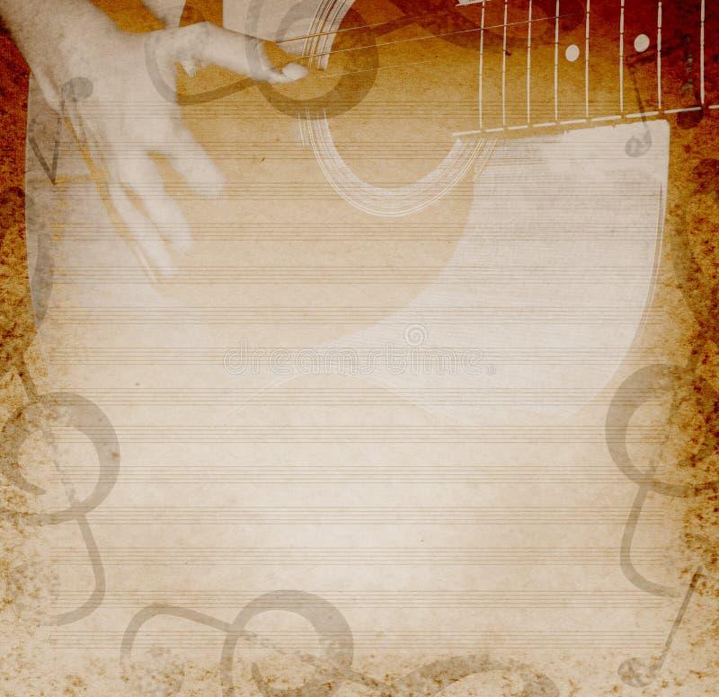 Fond musical avec la guitare illustration stock