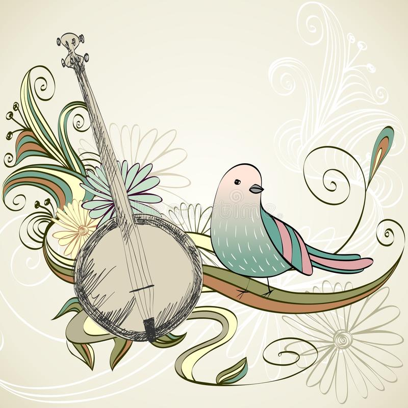 Fond musical banjo illustration de vecteur