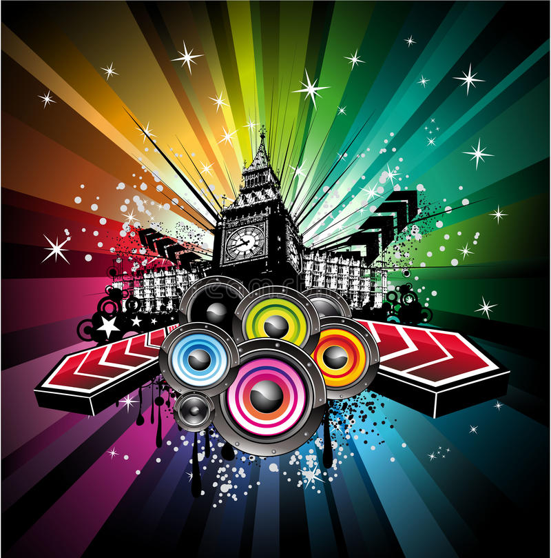Fond musical d'événement de Londres illustration stock