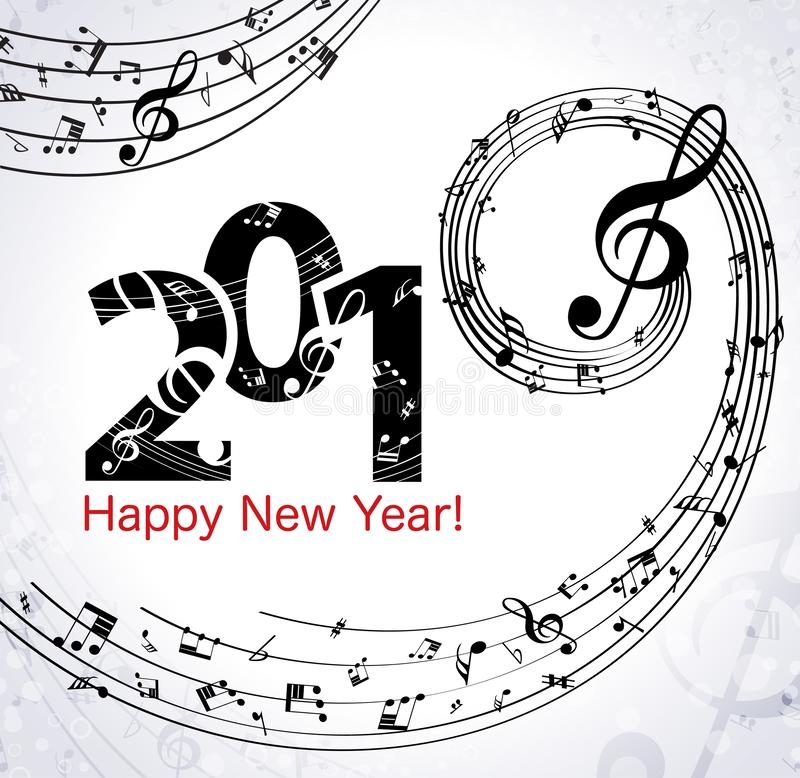 Fond musical de bonne année illustration de vecteur