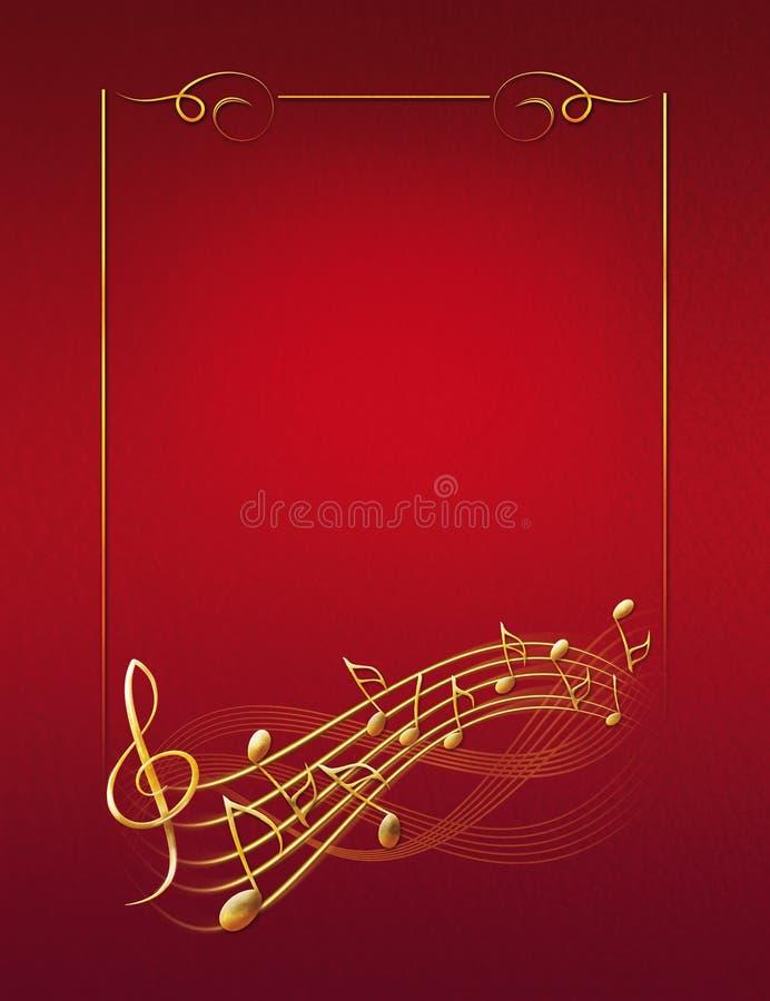 Fond musical rouge avec les notes de cadre d'or et la clef triple illustration stock