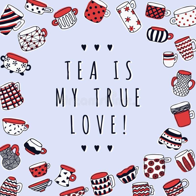 Fond naïf mignon de tasses Le thé est mon véritable fond d'amour Dessin de style d'enfants illustration de vecteur