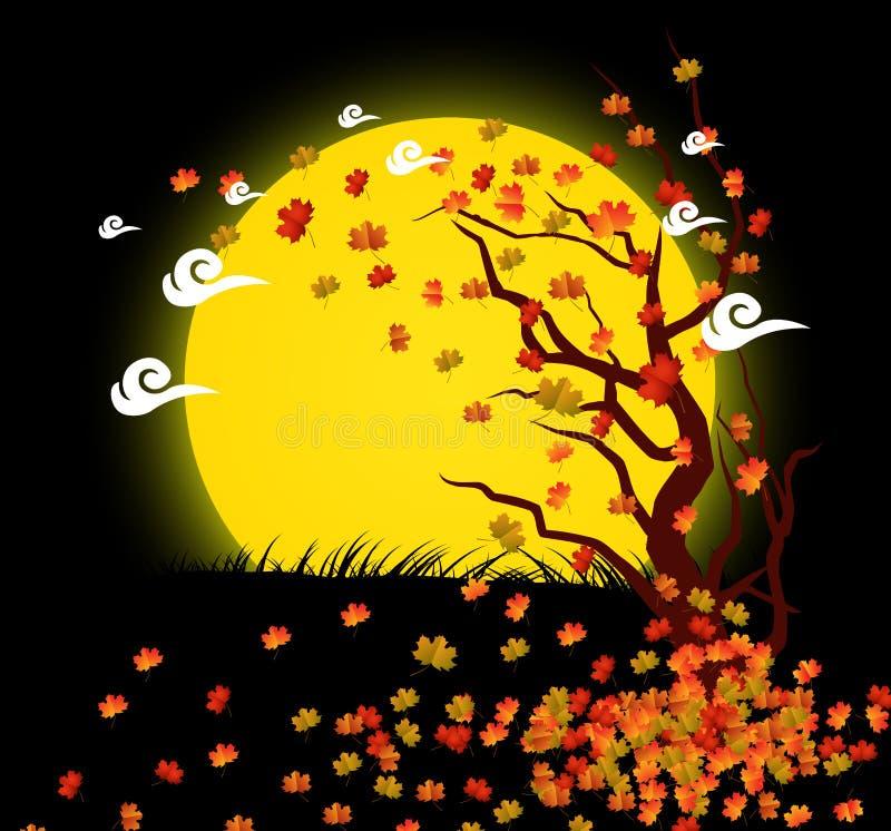 Fond naturel avec des feuilles et le clair de lune illustration libre de droits