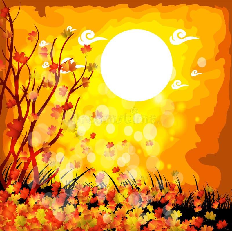 Fond naturel avec des feuilles et le clair de lune illustration stock