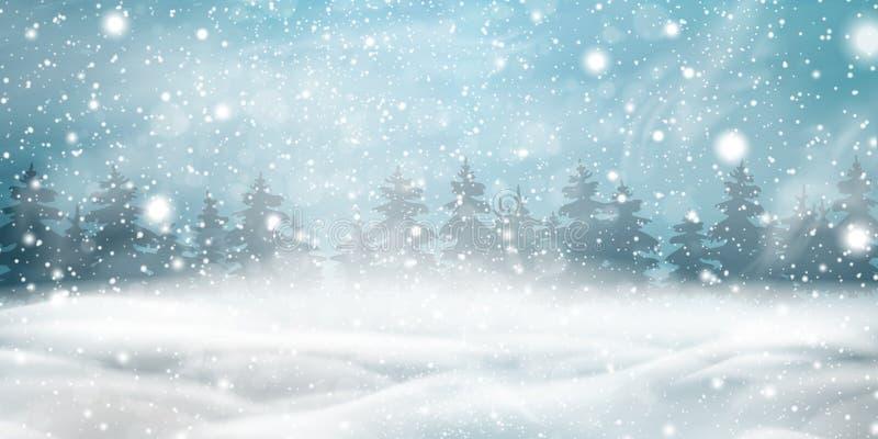 Fond naturel de Noël d'hiver avec le ciel bleu, chutes de neige lourdes, flocons de neige, forêt conifére neigeuse, congères illustration stock