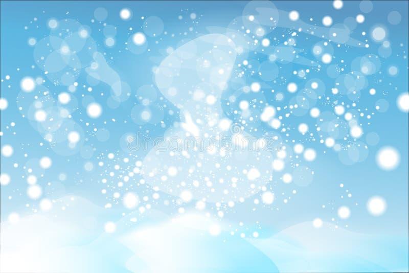 Fond naturel de Noël d'hiver avec le ciel bleu, les chutes de neige lourdes, les flocons de neige dans différentes formes et les  illustration de vecteur