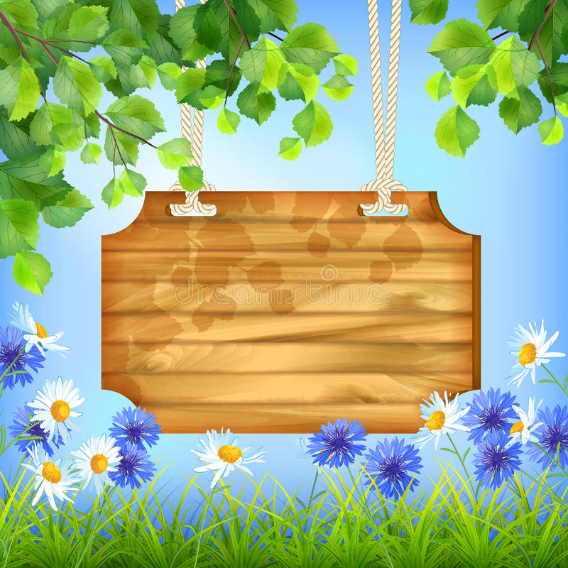Fond naturel en bois de jour d'été de panneau de signe illustration libre de droits
