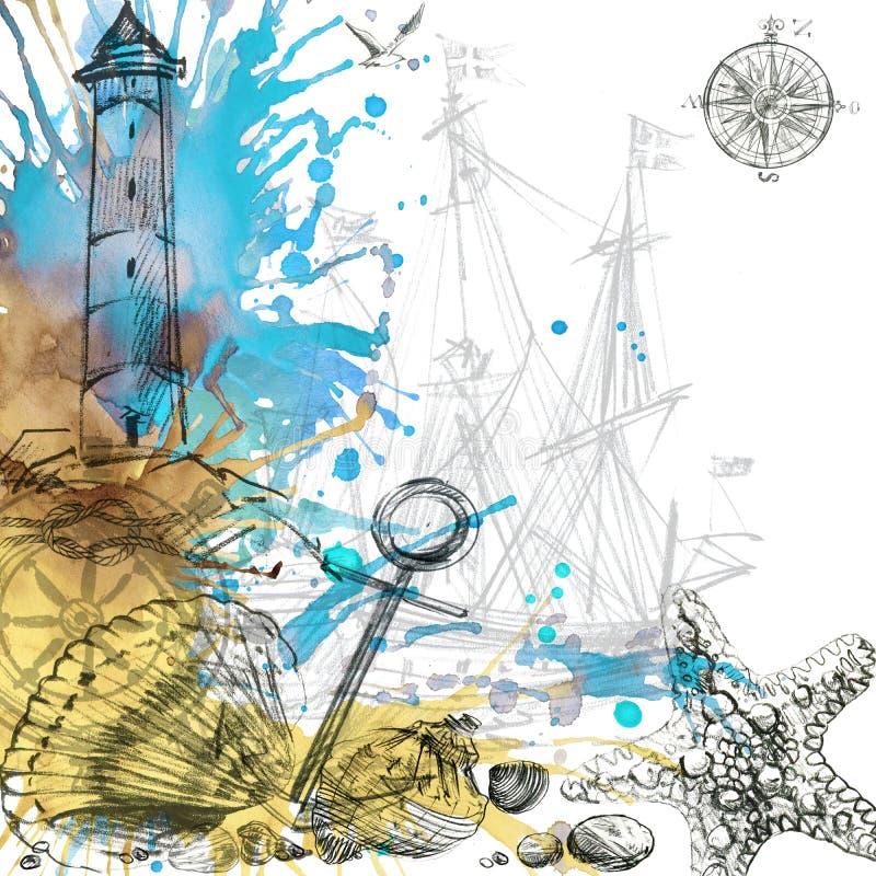 Fond nautique de cru illustration de vecteur