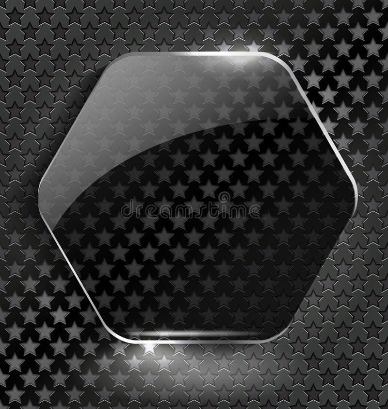 Fond noir abstrait avec l'élément-cadre en verre illustration de vecteur