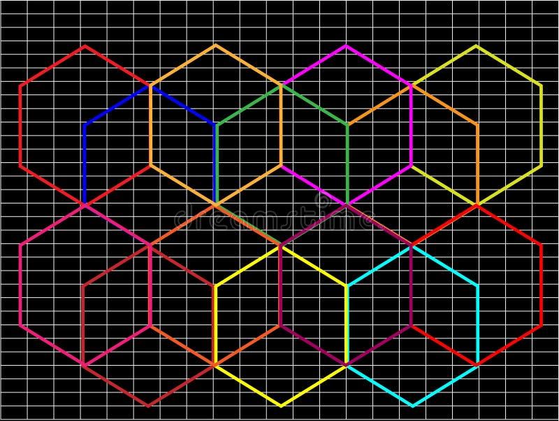 Fond noir abstrait avec le hexago multicolore illustration de vecteur