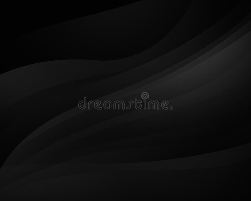 Fond noir abstrait avec les lignes douces, conception futuriste illustration stock
