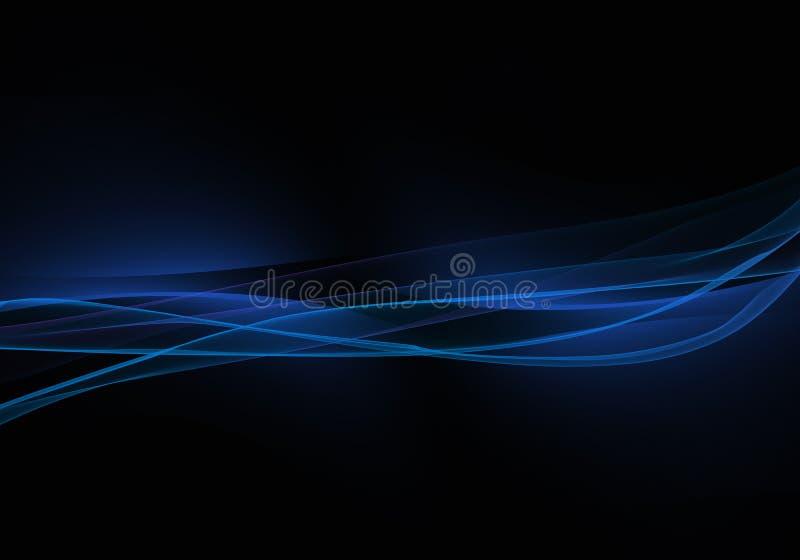 Fond noir abstrait avec les lignes dynamiques bleues illustration stock