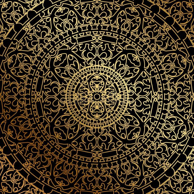 Fond noir avec l'ornement d'oriental d'or illustration stock