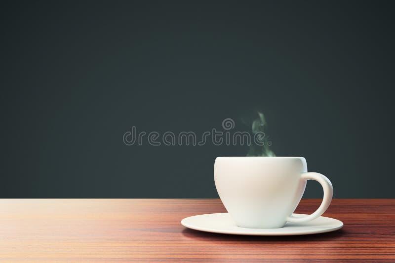 Fond noir avec la tasse de café et endroit pour votre texte image stock