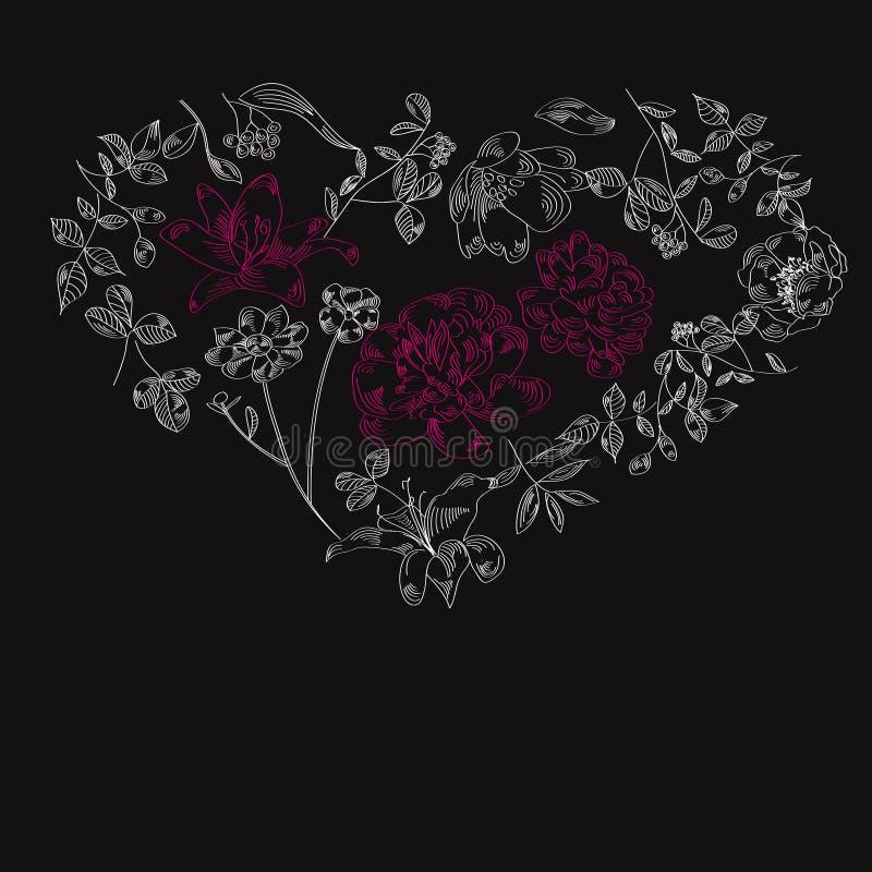 Fond noir avec le coeur illustration de vecteur