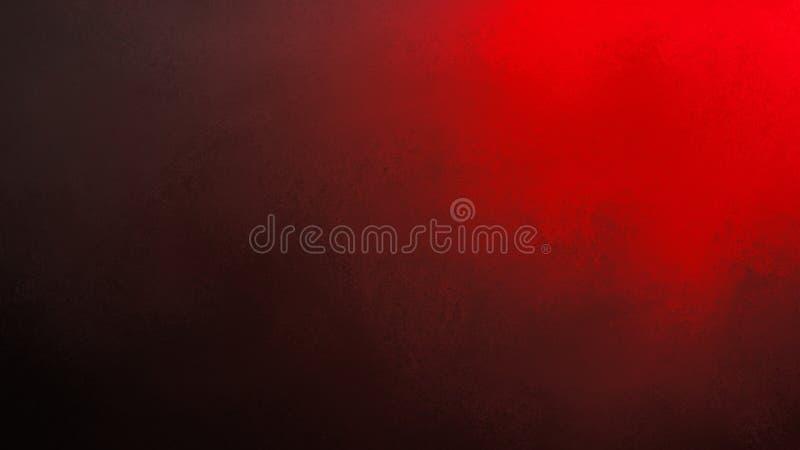 Fond noir avec le projecteur rouge lumineux brillant du coin supérieur Conception texturisée riche de fond de Noël avec le copysp illustration libre de droits