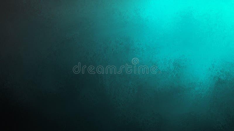 Fond noir avec le projecteur vert bleu lumineux brillant du coin supérieur illustration libre de droits