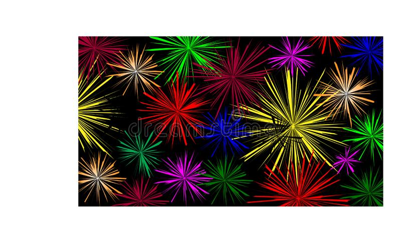 Fond noir avec les feux d'artifice colorés - illustration illustration de vecteur