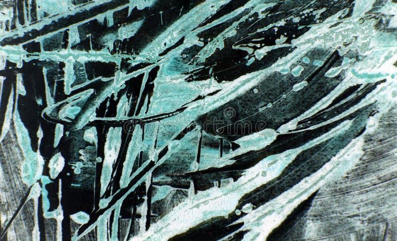 Fond noir blanc vert bleu de courses de pinceau photographie stock