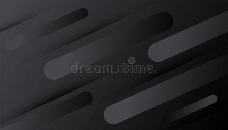 Fond noir Décoration foncée abstraite de gradient texturisée avec des lignes modèle Contexte 3d géométrique minimal dynamique illustration libre de droits
