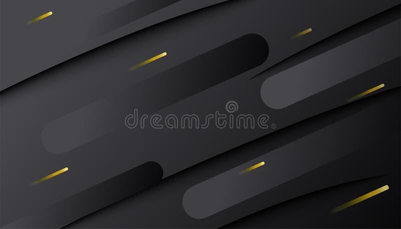 Fond noir Décoration foncée abstraite de gradient texturisée avec les lignes d'or modèle Contexte 3d géométrique minimal illustration libre de droits
