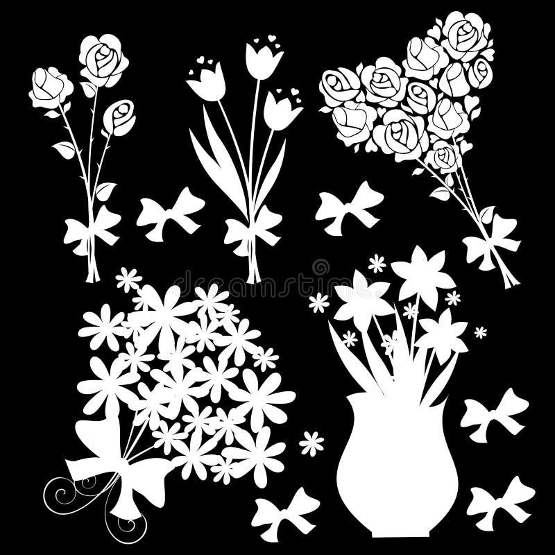 Fond noir d'éléments de conception florale illustration de vecteur