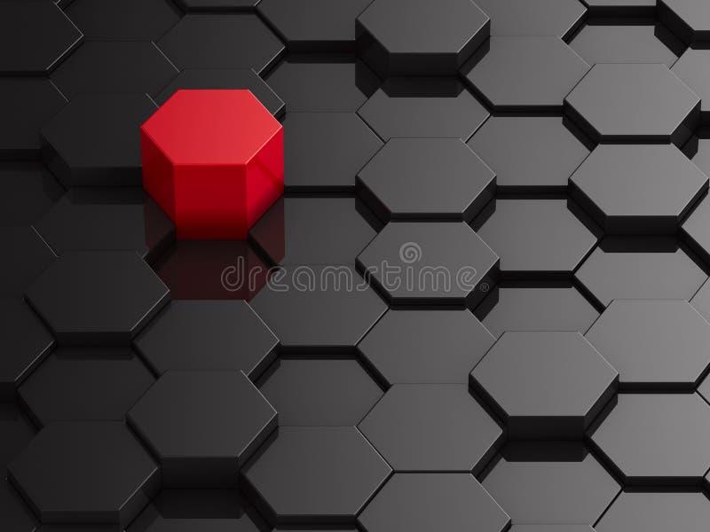 Fond noir d'hexagone avec l'élément rouge illustration stock