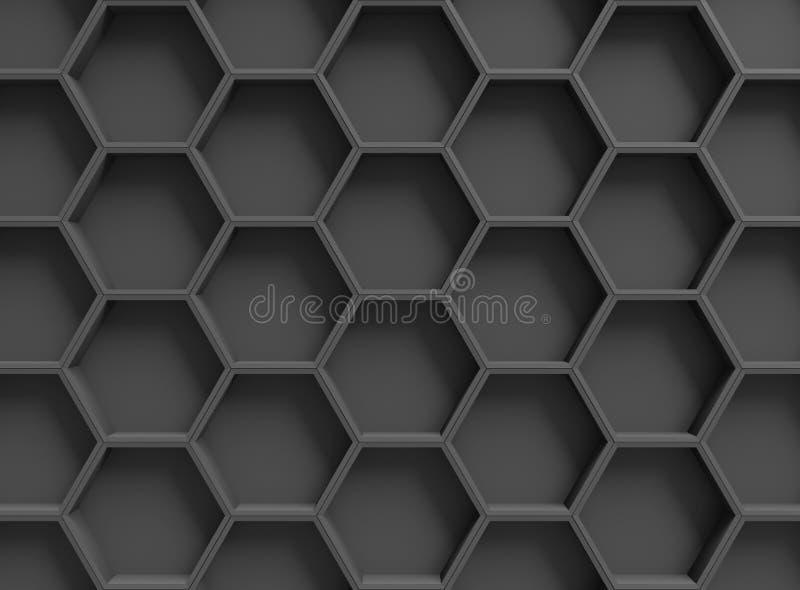 Fond noir d'hexagones illustration de vecteur