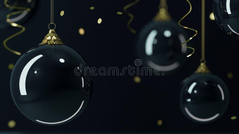 Fond noir de boules de Noël en verre de fond illustration libre de droits