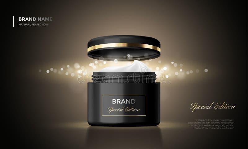 Fond noir de la meilleure qualité de scintillement de paquet de la publicité de vecteur de pot cosmétique de crème illustration de vecteur