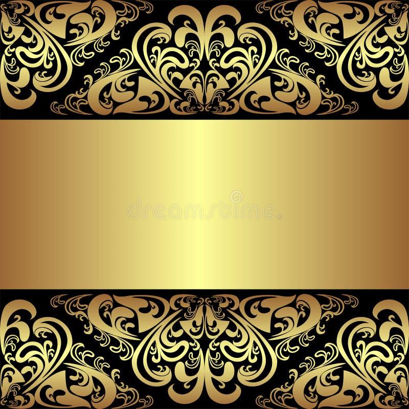 Fond noir de luxe avec les frontières royales d'or illustration de vecteur