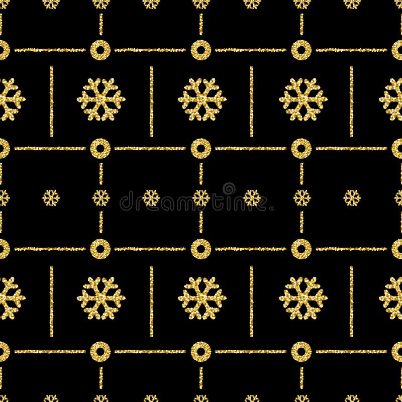 Fond noir de modèle de Noël avec le snowfl éclatant d'or illustration libre de droits
