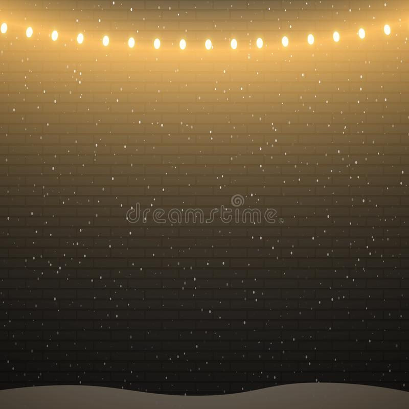 Fond noir de mur de briques avec des lumières et des chutes de neige de Noël illustration libre de droits