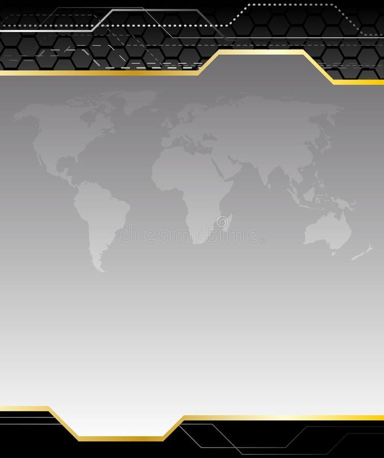 Fond noir de pointe avec la carte de la terre illustration de vecteur