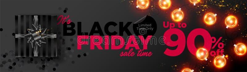 Fond noir de vecteur de vente de vendredi Bannière de promotion d'affaires illustration libre de droits