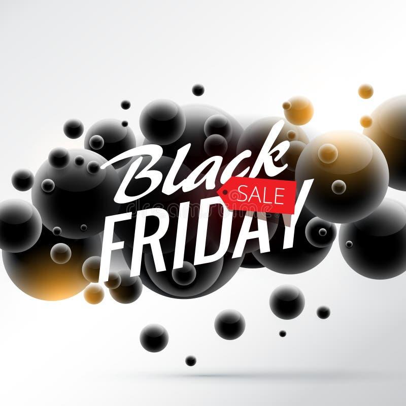 Fond noir de vente de vendredi avec les sphères 3d abstraites illustration stock