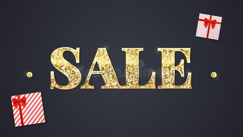 Fond noir de vente Vente éclatante des textes, panier de papier coloré avec de nouveaux articles achetés de labels et boîte-cadea illustration stock