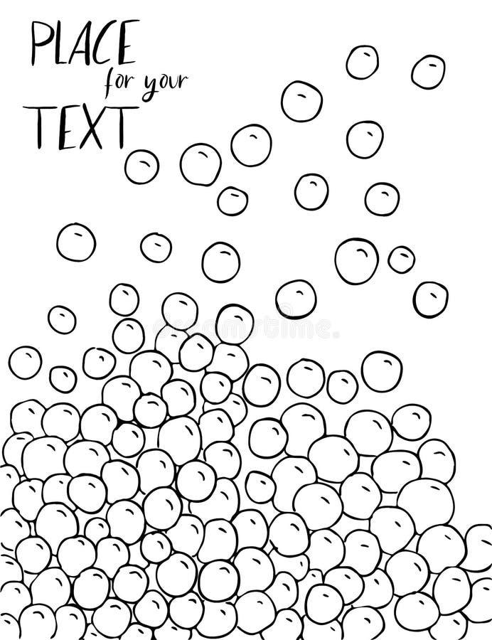 Fond noir et blanc abstrait de croquis de vecteur Modèle monochrome de bulles Illustration de vecteur L'espace pour le texte illustration de vecteur