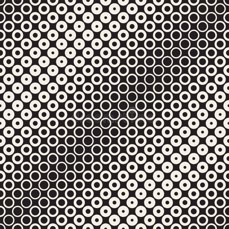 Fond noir et blanc abstrait de modèle Image tramée géométrique sans couture de cercle Modernes élégants texturen illustration libre de droits
