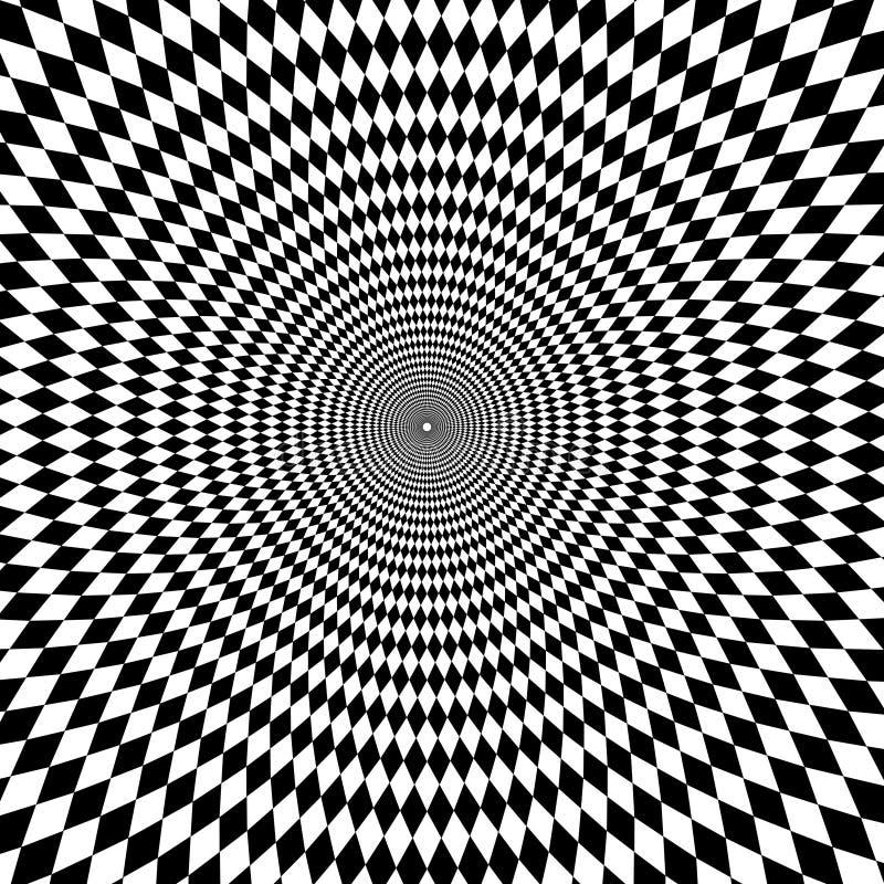 Fond noir et blanc de bourdonnement d'illusion optique illustration de vecteur
