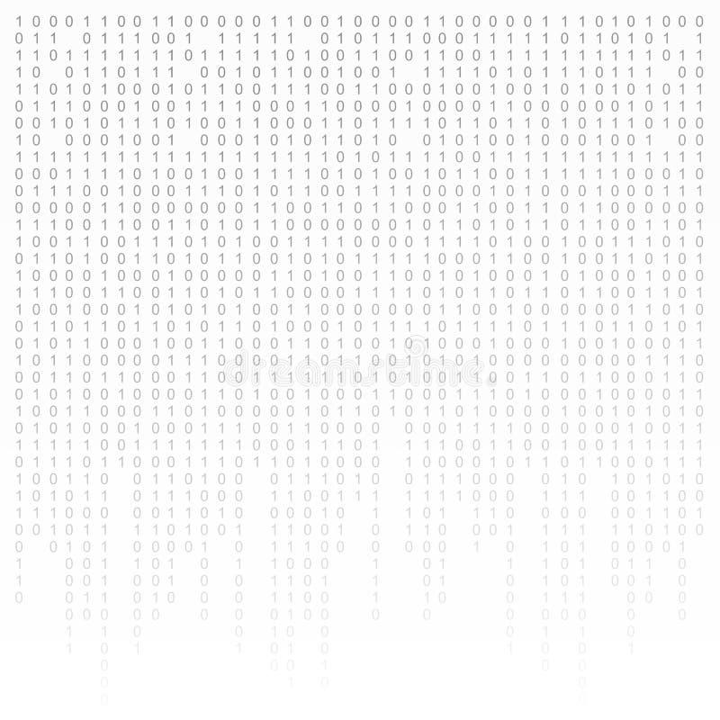 Fond noir et blanc de code binaire avec des chiffres sur l'écran Algorithme, données, codage de décryptage, matrice de rangée illustration de vecteur