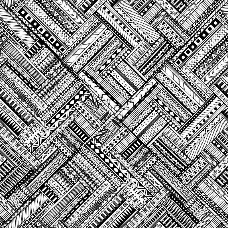 Fond noir et blanc de griffonnage ethnique sans couture illustration stock