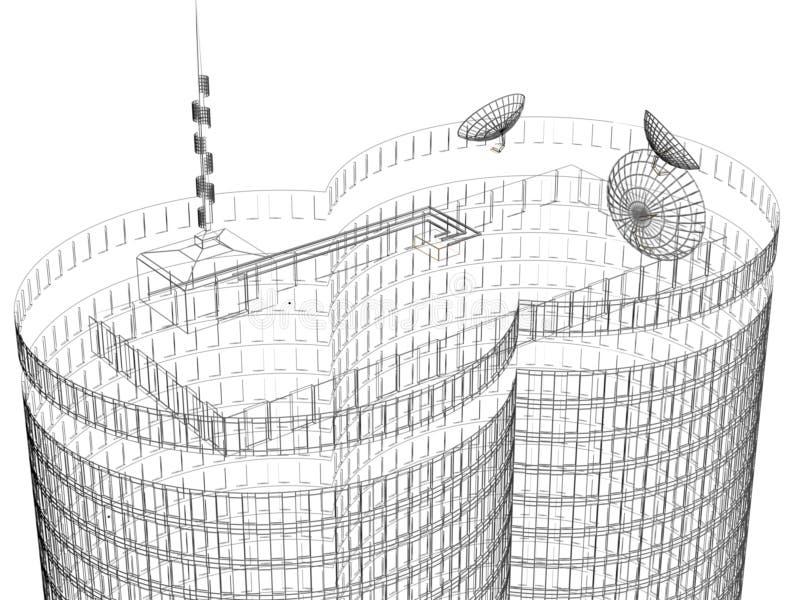 Fond noir et blanc de maison de tour illustration de vecteur