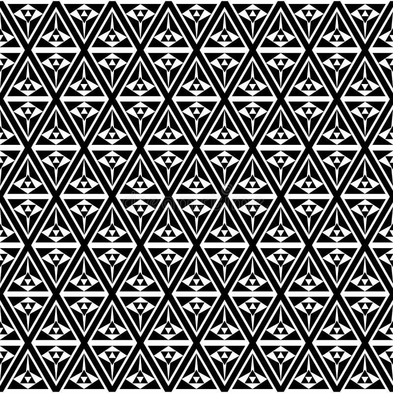 Fond noir et blanc de modèle de triangle d'art op illustration stock